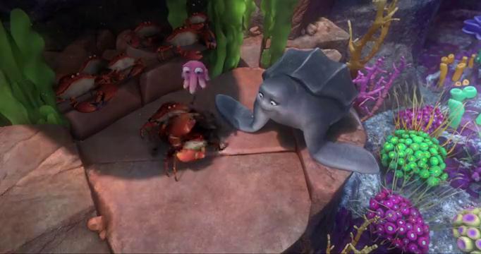 海龟刚想逃离水族馆,就被电鳗拦下,一场鱼儿之间的战斗开始了