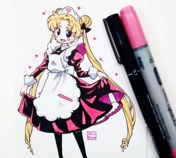 马克笔手绘,精致可爱的动漫美少女,人物表情绘制的十分精彩