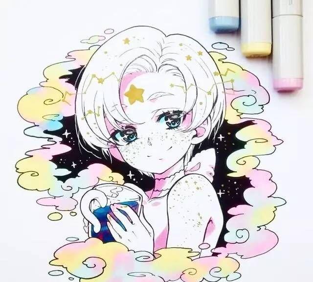 马克笔手绘,画风超甜超可爱的卡通插画,梦幻星辰系女孩