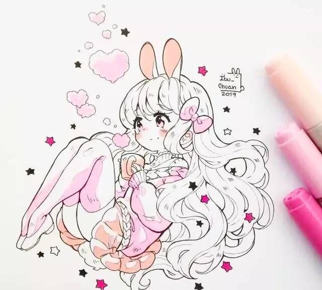 马克笔手绘,画风超甜的超可爱的卡通插画,粉蝴蝶结长发女孩
