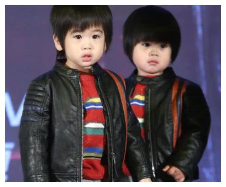 林志颖双胞胎儿子近照,一个是迷你版林志颖,一个是小胖墩图片