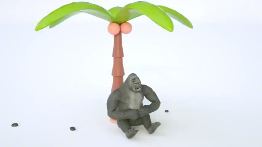 大猩猩喝了彩色染料变出超级大猩猩宝宝英语启蒙学颜色