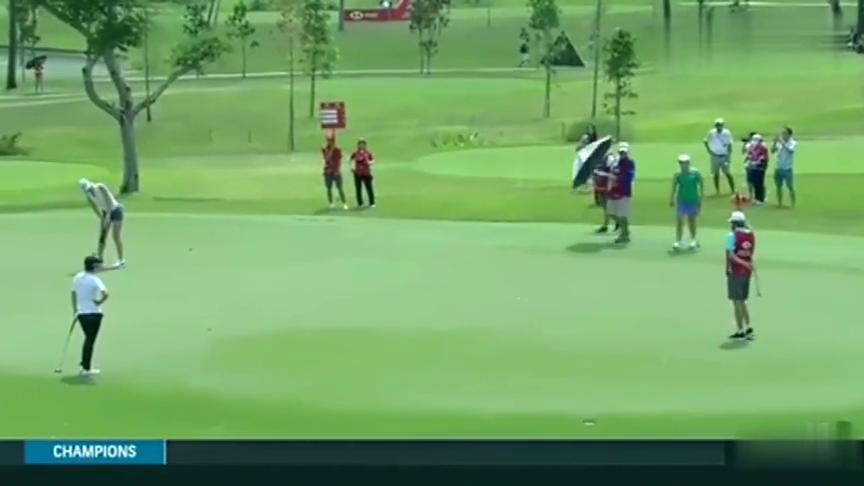 高尔夫比赛:女子比赛魏圣美集锦,小魔女首轮67杆,太精彩了!