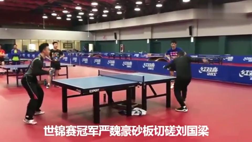 冠军严魏豪砂板切磋刘国梁,张继科笑得太魔性了!