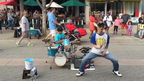 世界街舞冠军南贤俊在街头即兴舞蹈不愧是街舞达人啥都会