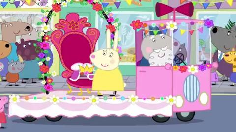 小猪佩奇英语启蒙,女王邀请孩子们进行游行!