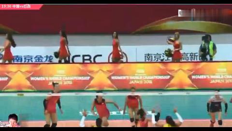 世界女排大奖赛,中巴大战,朱婷超手高点强攻,暴扣三米线