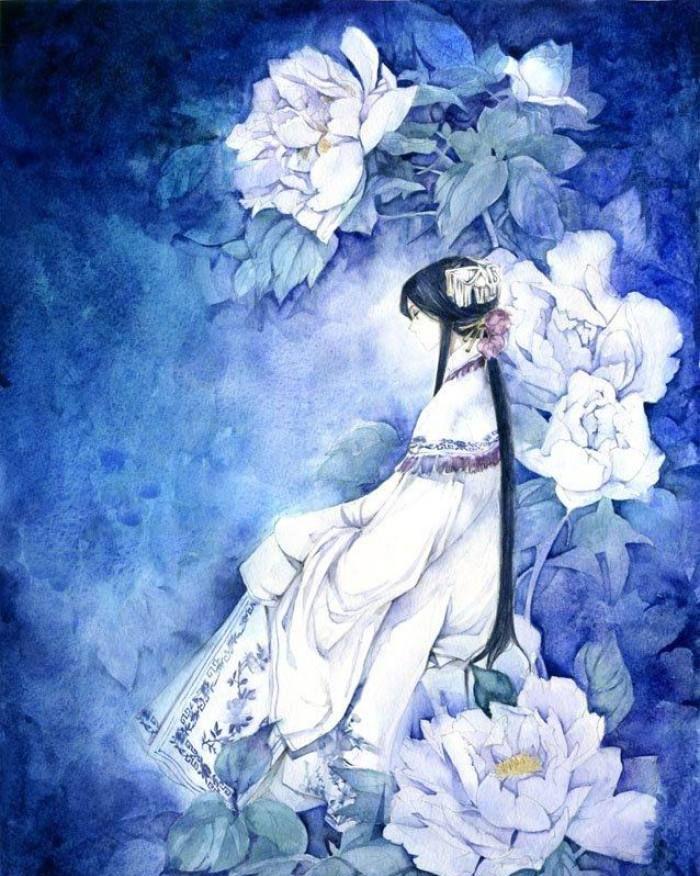 唯美古风手绘插画壁纸,所谓繁花不过一梦,我曾用爱雕刻时光