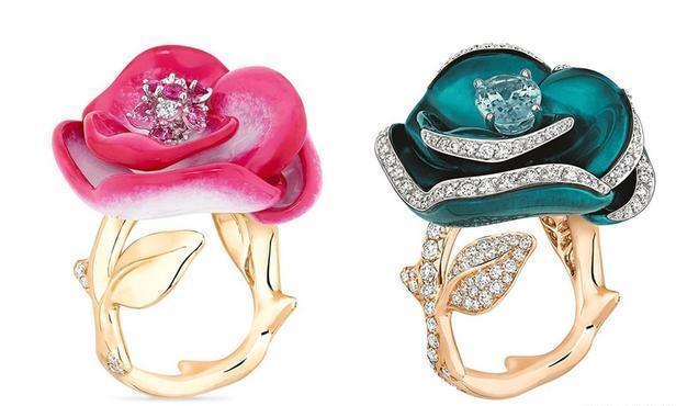 Dior迪奥Rose Dior Pop 珠宝新作:彩色漆绘玫瑰