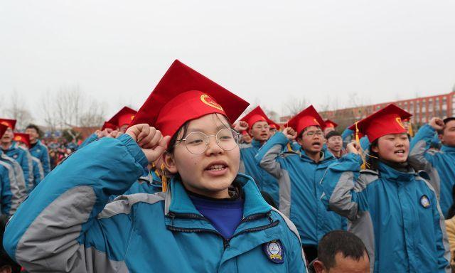 我要上大学!江苏一高中举行高考百日誓师大会,场面宏大
