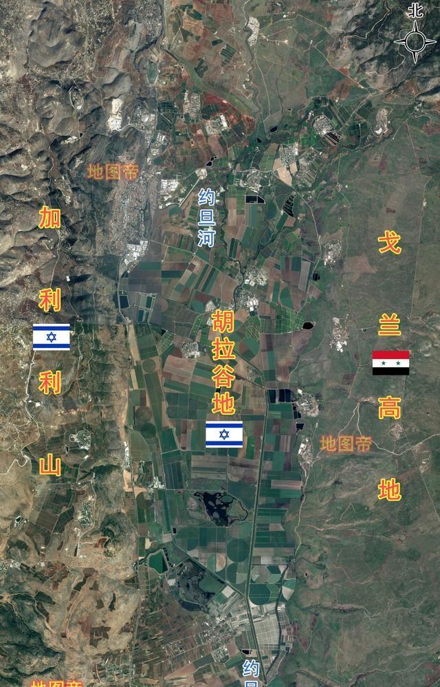 航拍以色列胡拉谷地,旁边是叙利亚的戈兰高地