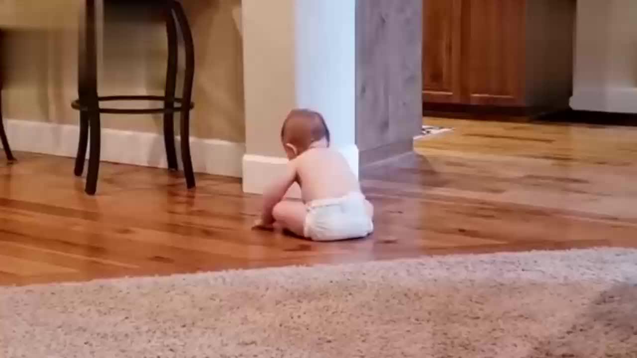 宝宝还不会站直接用屁股走路好聪明