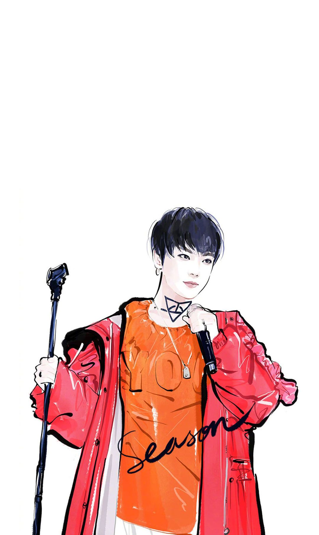 高清手机壁纸丨手绘华晨宇卡通丨扎心情感短句