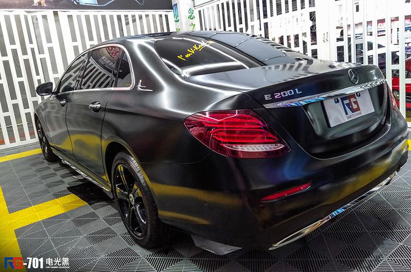 奔驰E200L车身改色电光黑 RG瑞集改色膜福建泉州加盟店出品
