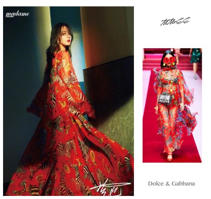 迪丽热巴穿过的杜嘉班纳的连衣裙