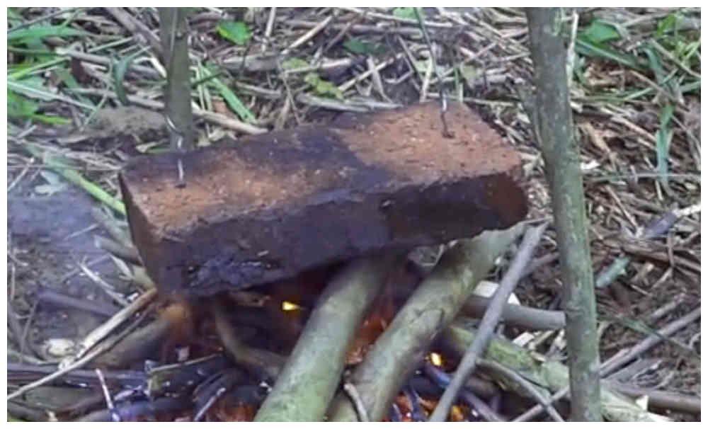 农村小伙自制野餐,一块砖一斤肉,出火后一块接着一块吃得很嗨。