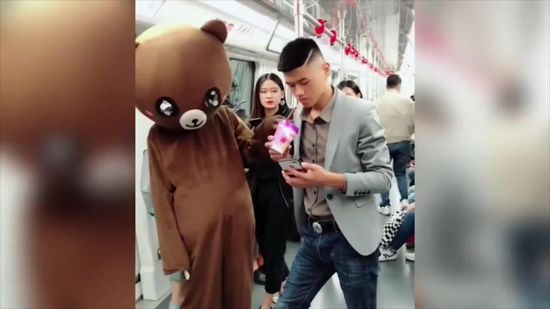 网红熊地铁上蹭奶茶小姐姐都看的入迷了