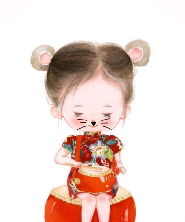 一组新年小萌宝,给大家拜年来啦 作者:胡蝶手绘