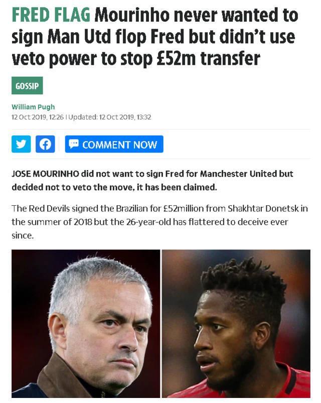 太阳报:穆里尼奥不想要弗雷德 但怕拒绝后曼联不签自己想买的人