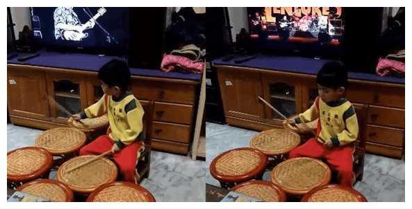 该栽培吗? 5岁男孩爱上爵士鼓! 3年敲坏一堆椅子