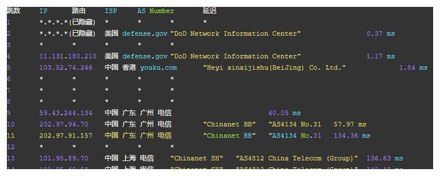 阿里云服务器路由跟踪显示的defense.gov (DoD Network) IP地址