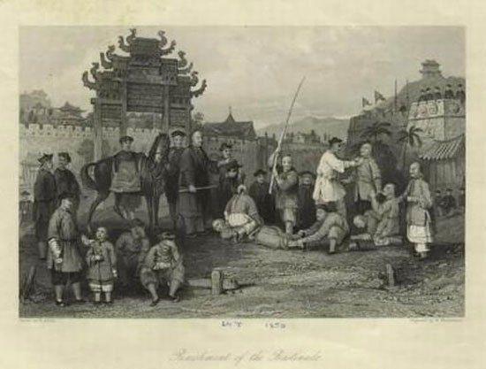 百年前,外国人画笔下的大清国刑罚之一