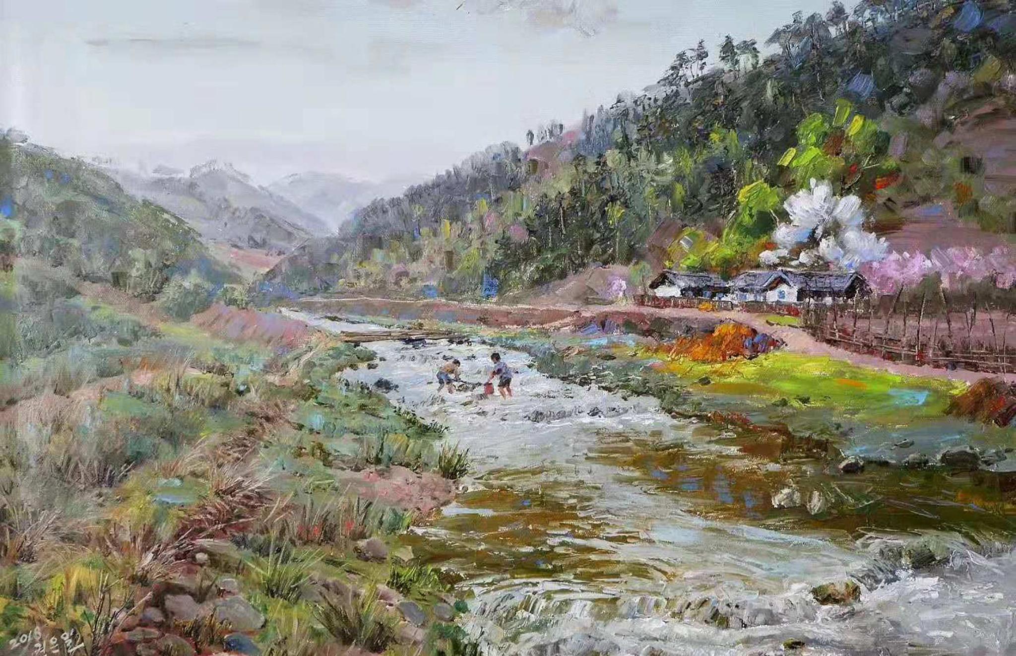 油画风景:一组描绘小溪、梨花、枫叶和民房的乡村风景油画小品