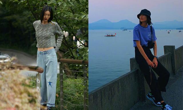 刘雯再晒游客照,一身休闲装扮漫步西湖边,夕阳下的你美成一幅画