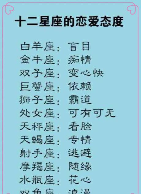 十二星座最关系的类型,处女座和十二星座的做爱表和天秤座的女生喜欢图片