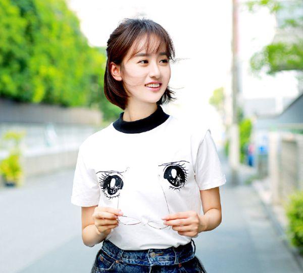 小清新袁冰妍,白T恤牛仔短裙长腿写真图片,娇俏可爱