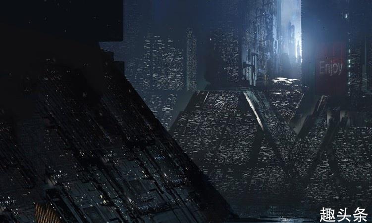 破败而繁华的赛博朋克城市,末日科幻风的概念插画,场景宏大壮观
