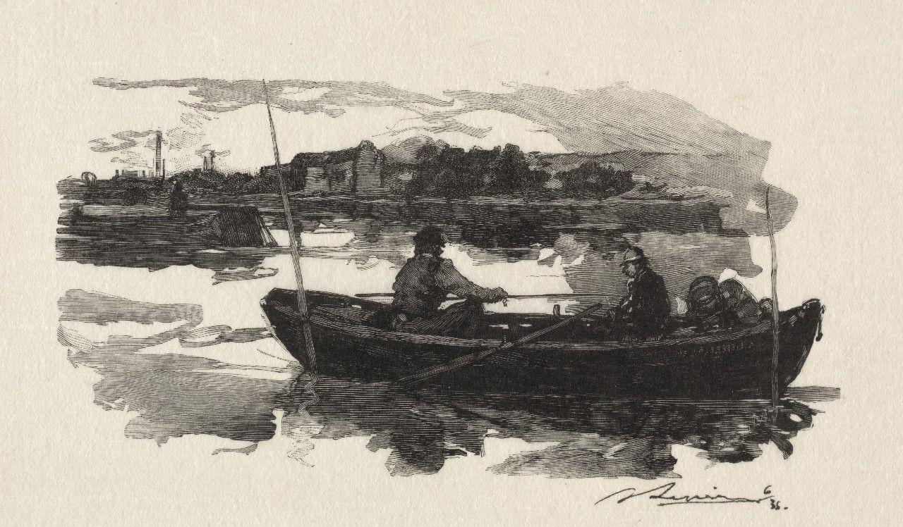 几幅关于船与人物的铅笔画