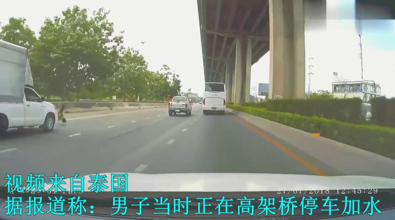 男子在高架桥上停车,瞬间被撞出桥面,记录仪拍下生前最后几秒
