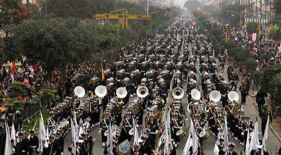 秘鲁阅兵仪式,多兵种接受检阅,特种兵头罩渔网