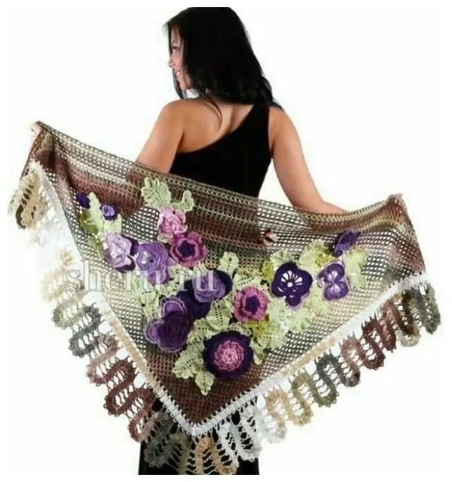 「针织作品」春天到了,这样的花式披肩要不要来一件?