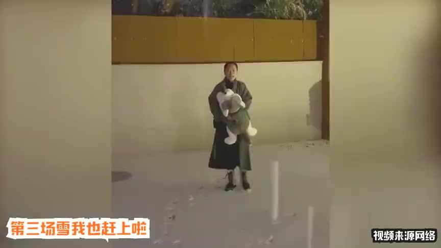 黄绮珊遇雪太兴奋被冷到打喷嚏还立志站在雪中成为一名雪人