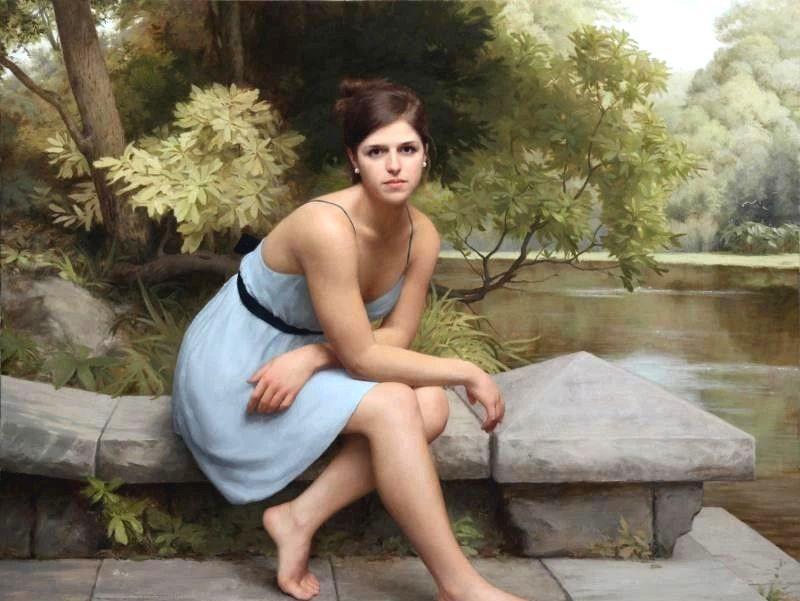 古典风范的完美呈现,约书亚拉罗克女性人物肖像油画欣赏
