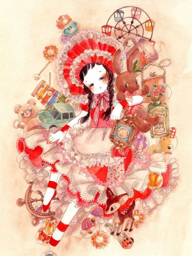 画是笔下的小红花少女:充满童趣而又离奇的画风,这个作品不一般