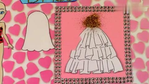 给纸娃娃新娘穿漂亮的裙子首饰等给新郎做帅气的西装手工diy