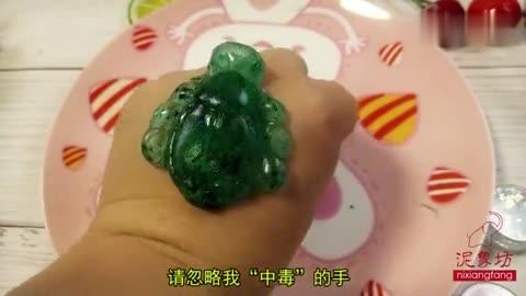 遇热变软水晶土,高仿液态玻璃质感,简单2步做出小乌龟,无硼砂