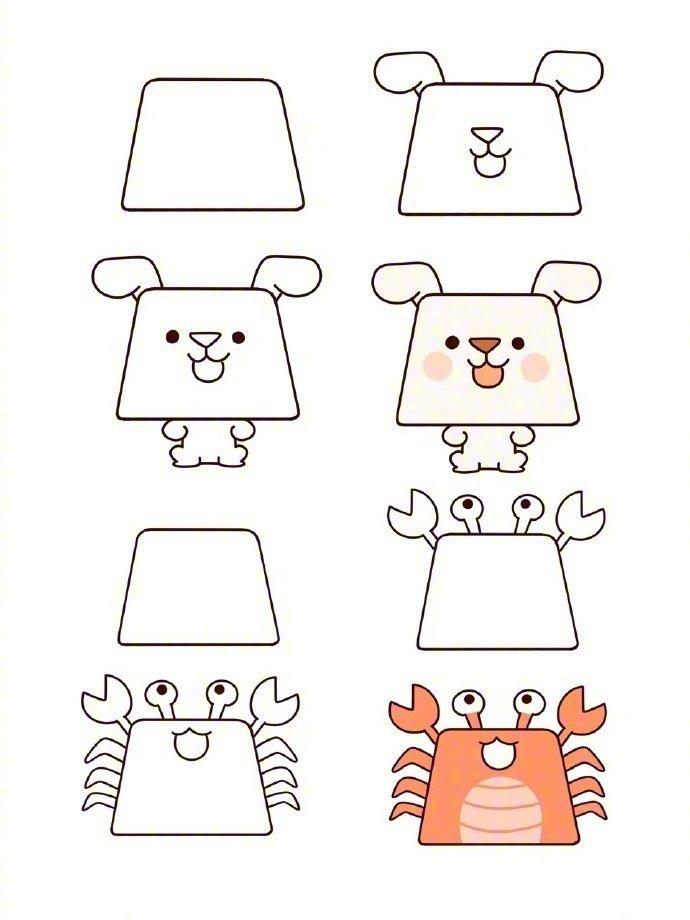 梯形小动物简笔画可爱又简单