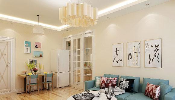 80㎡现代简约风格两房装修效果图,客厅阳台设计太实用