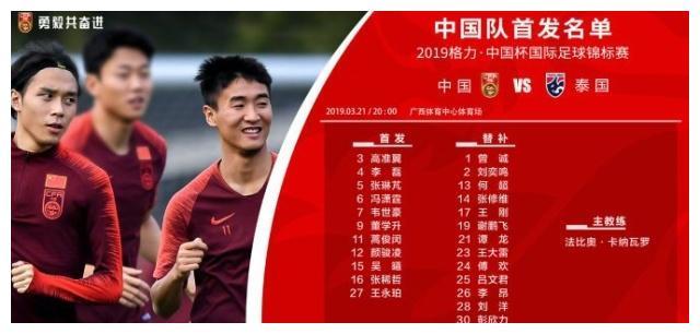 中国杯国足VS泰国首发出炉:冯潇霆队长,韦世豪