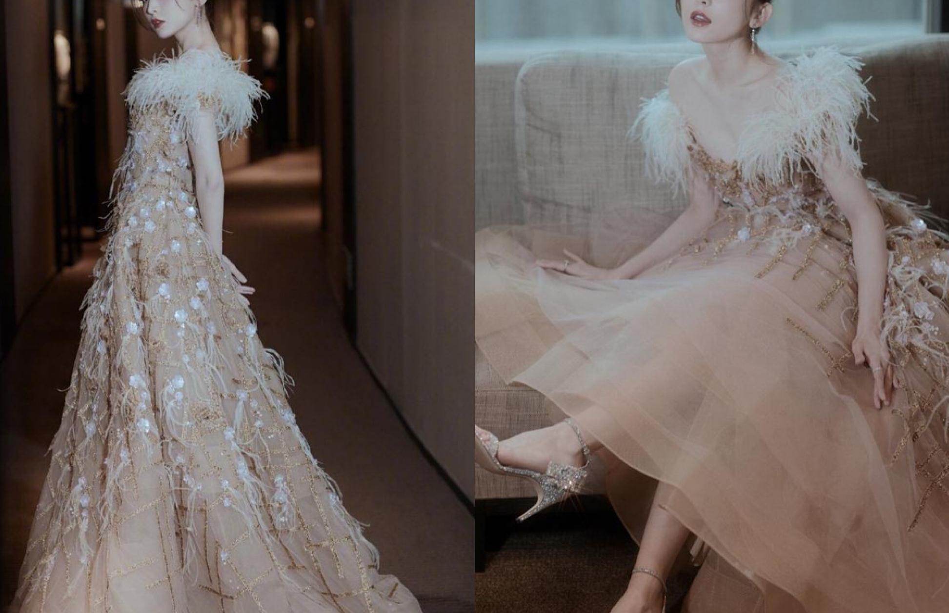 古力娜扎金色羽毛裙,真是惊艳全场,生图也挡不住美貌