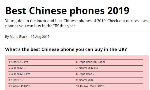 外媒评最佳中国品牌智能手机,小米第二,华为第五
