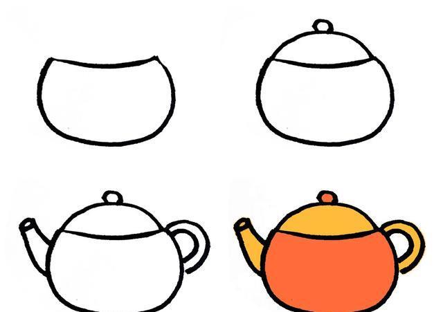 简单的生活用品儿童简笔画大全(一)厨房用品系列步骤图,超简单