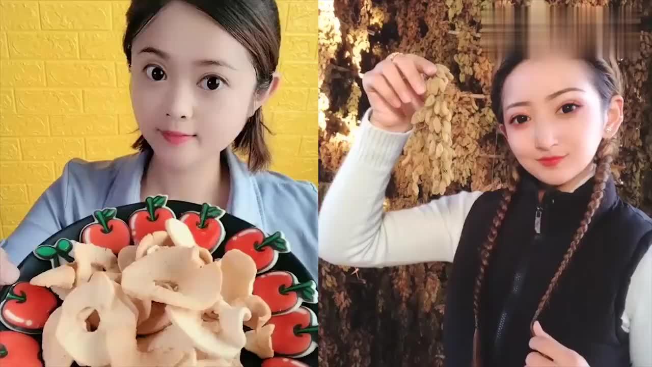 大妹子直播吃新疆苹果干一口下去超过瘾是向往的生活