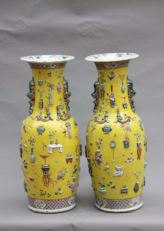 游山东的博物馆,看清代高浮雕五彩大花瓶!高度近1米!