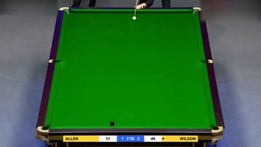 斯诺克大师赛决赛,艾伦逼平囧哥,最后一局竟争起了黑球!