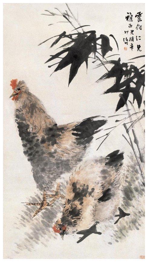 任伯年画鸡,真正的笔墨功夫!